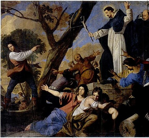 A picture of St Dominic accompanied by Simon de Montfort raising the crucifix against the Cathars by Daniel van den Dyck Daniel van den Dyck - St Dominic accompanied by Simon de Montfort raising the crucifix against the Albigensians.JPG