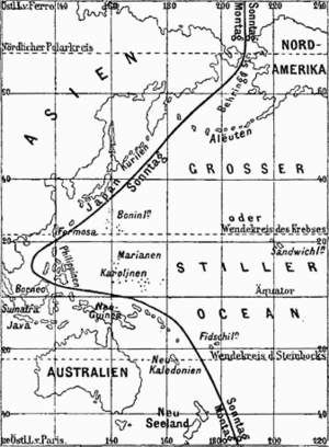 International Date Line - Erroneous International Date Line from the 1888 Meyers Konversations-Lexikon. The Philippine Islands are shown pre-1845, while Alaska is shown post-1867.