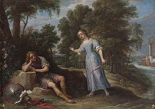 Reinaldo enamorado de Armida en la isla de Orontes