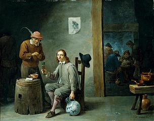 Self-portrait in an inn