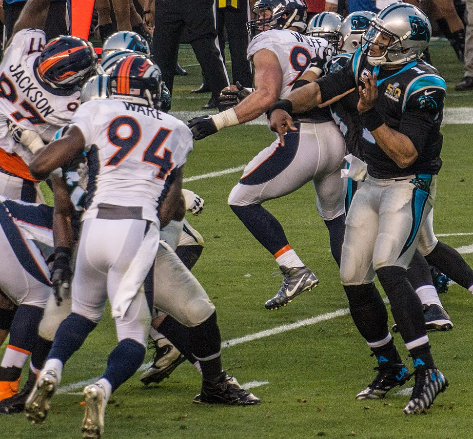 DeMarcus Ware and Cam Newton Super Bowl 50