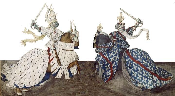 De hertogen van Bourbon en Bretagne in tweegevecht tijdens een toernooi
