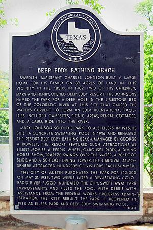 Deep Eddy Pool - Historical marker at Deep Eddy Pool