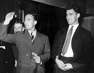 Denis Compton - Denis and Leslie playing darts  for a charity in 1947