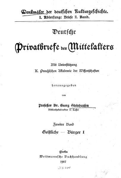 File:Deutsche Privatbriefe des Mittelalters Band 2.djvu