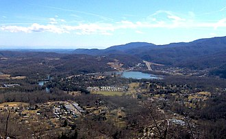 Cove Lake State Park - Cove Lake and Caryville, viewed from Devil's Racetrack