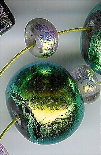 Dichroism - Lampworked dichroic glass bead