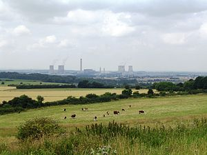 Wittenham Clumps - Didcot Power Station viewed from Wittenham Clumps
