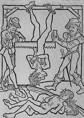 Death by sawing - Sawing of three men, from a 15th-century print