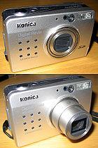 Kompakte Digitalkamera mit ein- und ausgefahrenem Zoomobjektiv