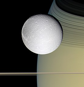 The moon Dione orbiting Saturn