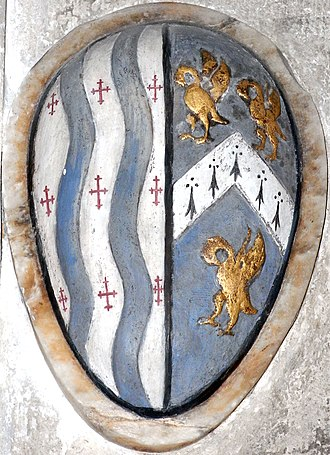 John Doddridge - Heraldic cartouche on monument to Sir John Dodderidge (1555–1628), Lady Chapel of Exeter Cathedral, showing arms of Dodderidge (Argent, two pales wavy azure between nine crosses croslet gules) impaling the arms of his third wife Anne Culme (Azure, a chevron ermine between 3 pelicans vulning their breasts or)