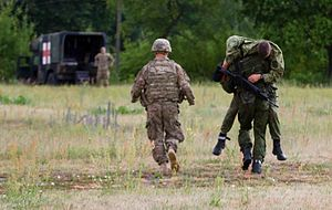 Grand Duke Gediminas Staff Battalion - Image: Dog Company trains for medevac in Lithuania 150709 A FJ979 002