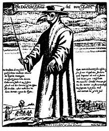 """Médico da Idade Média com fato """"protector"""" anti-peste"""