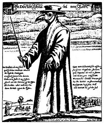 Der Doktor Schnabel von Rom(疫病を避けるためにガスマスクをしたペスト医者、パウル・フュルスト画、1656年)