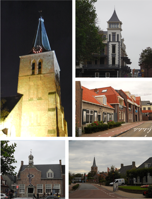 Domburg - Images from left to right; Old church at night, New small residential tower in the center, street in center, old municipal building, view to center