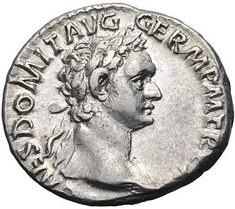 A denarius of Domitian. Caption: CAES. DOMIT. AVG. GERM. P. M., TR. P. XIIII. Domitian Denarius.jpg