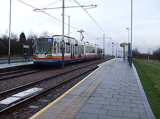 Sheffield Supertram - Donetsk Way tram stop. The platform edge's alignment and rugged paving can be seen.