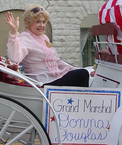 Douglas in 2007 as grand marshal at a parade in Lawrenceburg, Tennessee Donna Douglas in Lawrenceburg, TN Parade 2.jpg