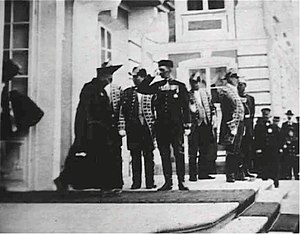 Agvan Dorzhiev - Agvan Dorzhiev coming out of the Great Palace in Petershof after his audience with the Tsar, 23 June 1901 (Andrey Terentiev Collection)