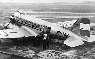 KLM - KLM Douglas DC-3 at Manchester Airport in 1947