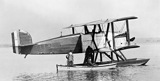 """Douglas World Cruiser - The prototype Douglas World Cruiser seaplane (s/n 23-1210). It was substituted for DWC Boston (23-1231) late on in the round-the-world trip. """"P318"""" on the tail is the Wright Field test number. (circa 1924)"""