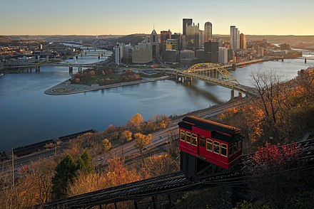 Downtown Pittsburgh and the Duquesne Incline from Mt. Washington Downtown Pittsburgh from Duquesne Incline in the morning.jpg