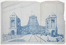 Blueprint drawing looking along the roadway of the proposed bridge from one end. Two railway tracks are in the centre, horse-drawn carriages, cars and bicycles are next, then pedestrians are on the outside.