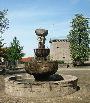 Friedewald, Hesse - Three-tiered fountain in the bailey yard, in the background the Dicker Turm at the moated castle of Friedewald