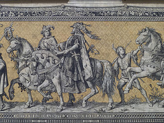 Theodoric I, Margrave of Meissen - Dietrich I, Margrave of Meissen (1195–1221) and Henry III, Margrave of Meissen (1221–1288); Fürstenzug, Dresden, Germany
