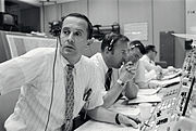 Duke, Lovell and Haise at the Apollo 11 Capcom, Johnson Space Center, Houston, Texas - 19690720