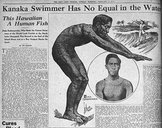 History of swimming - The Salt Lake Tribune featuring Duke Kahanamoku in 1913.