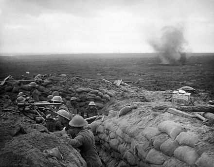 A signal section of the 13th battalion D.L.I. on the Menin Road ridge September 1917 Durham Light Infantry signallers Battle of Menin Road 1917 IWM Q 5968.jpg