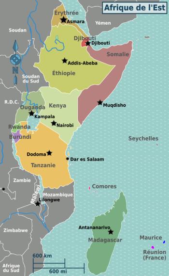 carte afrique de l est Afrique de l'Est — Wikivoyage, le guide de voyage et de tourisme