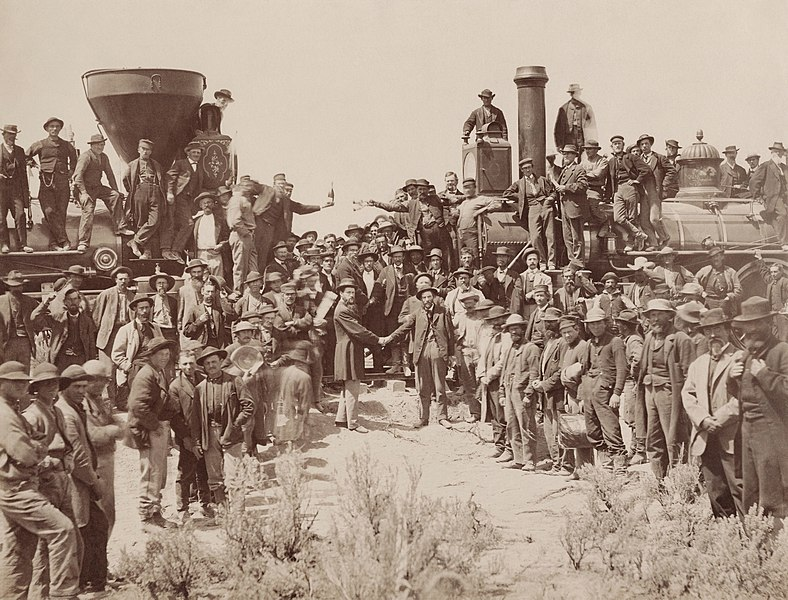 File:East and West Shaking hands at the laying of last rail Union Pacific Railroad - Restoration.jpg