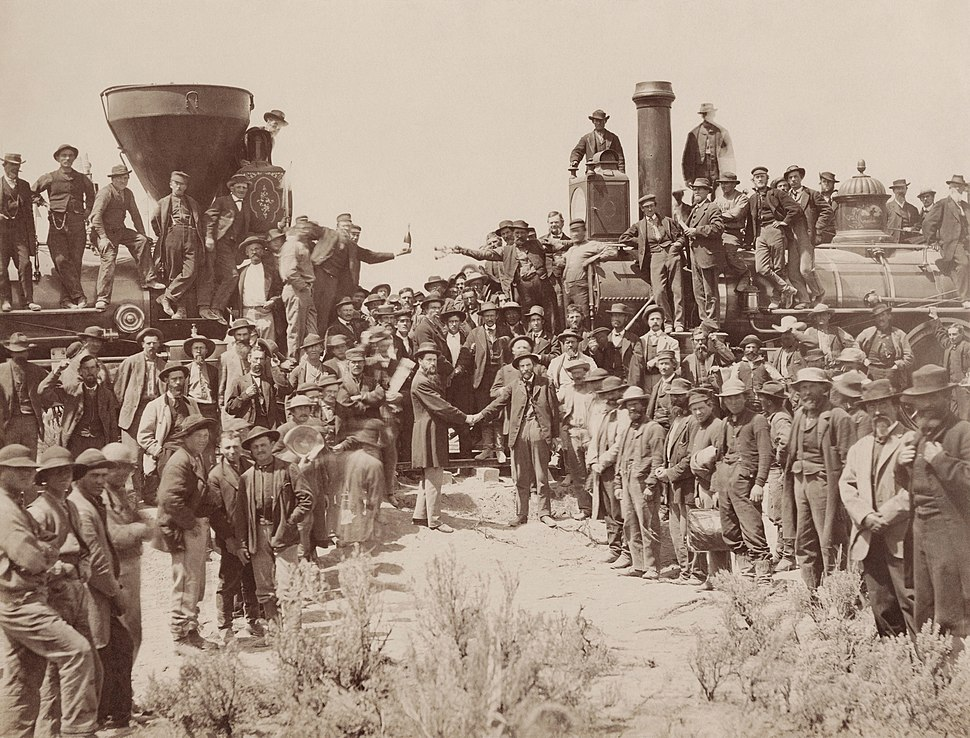 East and West Shaking hands at the laying of last rail Union Pacific Railroad - Restoration