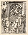 Ecce Homo- Christ wearing the crown of thorns standing in a loggia presented to a crowd, after Dürer MET DP820324.jpg