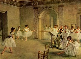 Painting of ballet dancers by Edgar Degas, 1872.