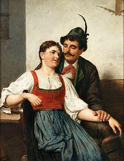 Eduard Kasparides Junges Paar in Tracht