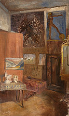 Studio with the Works of the Master, Mobile Screen, Chaise longue and a large Mirror