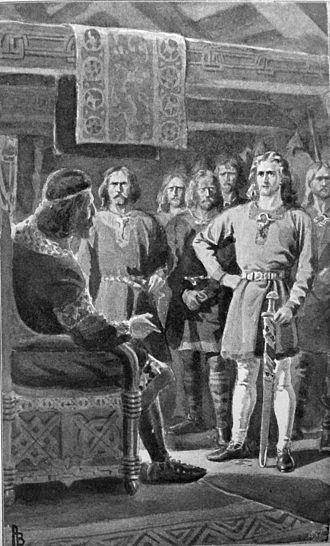 Gunnlaugr Ormstunga - Gunnlaugr Ormstunga before Earl Eric Haakonsson  Published in Gunnlaugs saga ormstungu   Illustration by Andreas Bloch (1898)