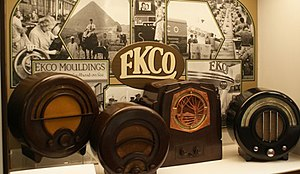 Wells Coates - Ecko radio display, showing Coates' most popular design, the AD-65 on the right