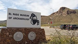 El Paso Museum of Archaeology - The sign outside of the El Paso Museum of Archaeology with the Franklin Mountains in the background.