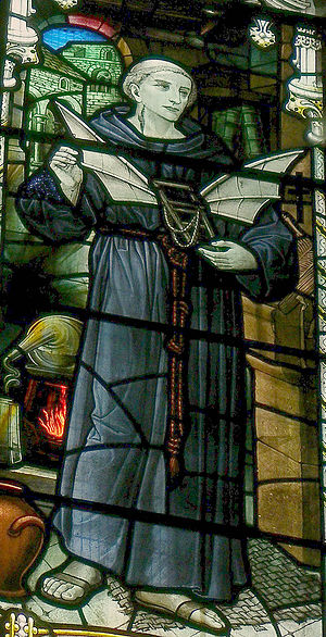 Eilmer of Malmesbury - Stained glass window showing Eilmer, installed in Malmesbury Abbey in 1920