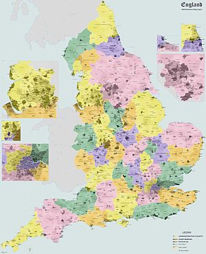 History of local government in England - Administrative map of England in 1931.