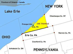 Erie Triangle - Black line indicates southern border of Erie Triangle within Erie County