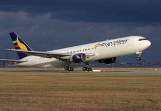 Eritrean Airlines - Eritrean Airlines' first aircraft was a Boeing 767-300ER named Queen Bee. The airplane is seen here at Frankfurt Airport in 2004.