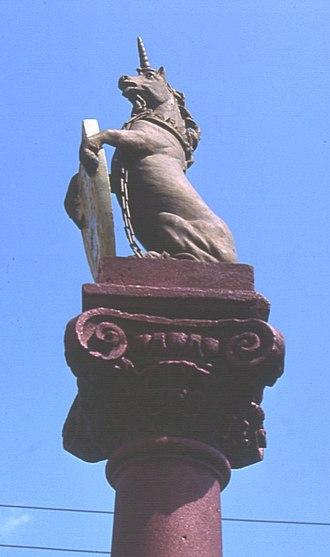 Errol, Perth and Kinross - Unicorn atop Errol's Mercat Cross
