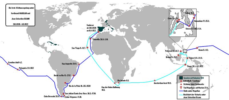 Juan Sebastián Elcano Ferdinand Magellan S Replacement: Datei:Erste Weltumsegelung Unter Magellan Und Elcano.png