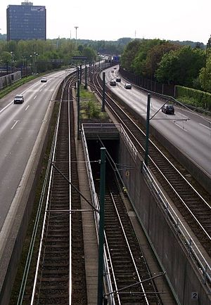 """Essen Stadtbahn - The tracks of the """"model line"""" in the middle of the Ruhr motorway"""